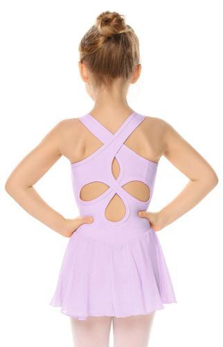 Arshiner Kid Girls Hollow Back Ballet Leotard with Skirt Sle