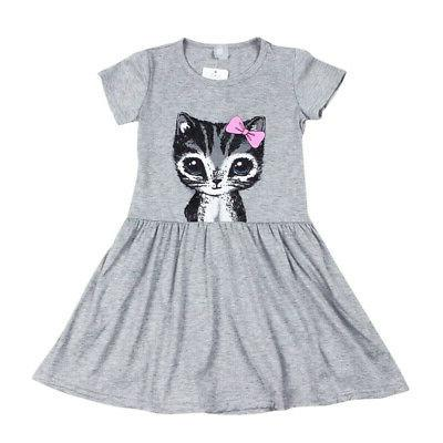 Toddler Girls Summer Cat Print Party Clothes