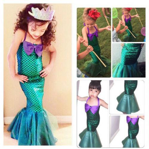 Girls Dress The Little Mermaid Tail Princess Ariel Costume S