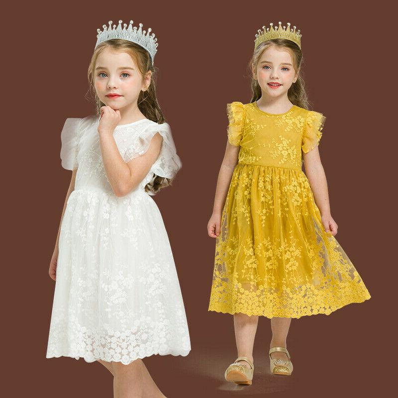 kids baby girl dress birhtday party lace