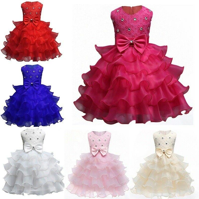 Baby Kids Girls Bow Tutu Wedding Bridesmaid