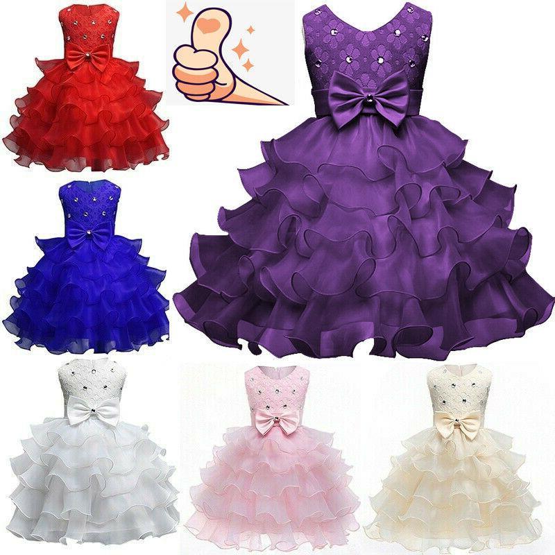 Baby Girls Bow Tutu Dress Wedding Bridesmaid Dresses