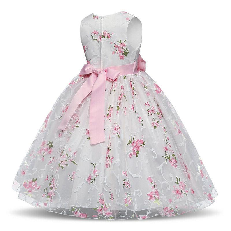 Kids Party Gown Wedding Flower Girl Pink Dress