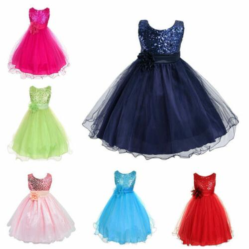 Kids Toddler Party Sequin Dress Bridesmaid