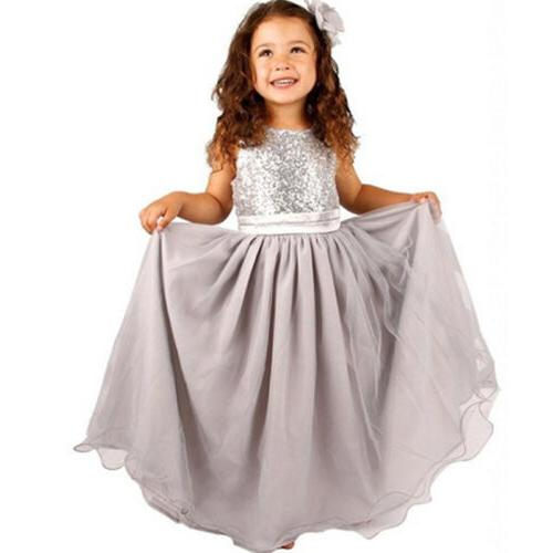 Kids Party Sequin Dress Flower Girls Bridesmaid