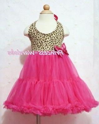 Leopard Print Pink Tutu Pettiskirt For 2-8Y