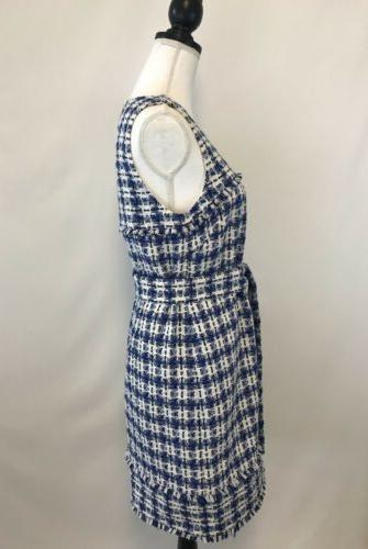 NEW J.Crew Belted Dress Tweed Size 6 Blue Rare!