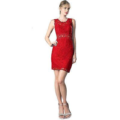 For You Dress New Mock Two-Piece Lace Dress Red Large