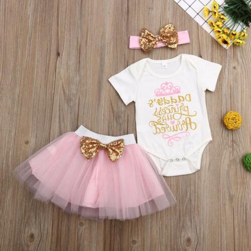 Newborn Baby Girl Wedding Party Skirt Dress Headband Outfits