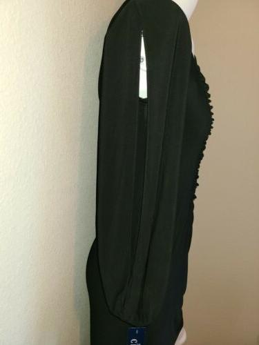 NWT Black Ruching Neck Long