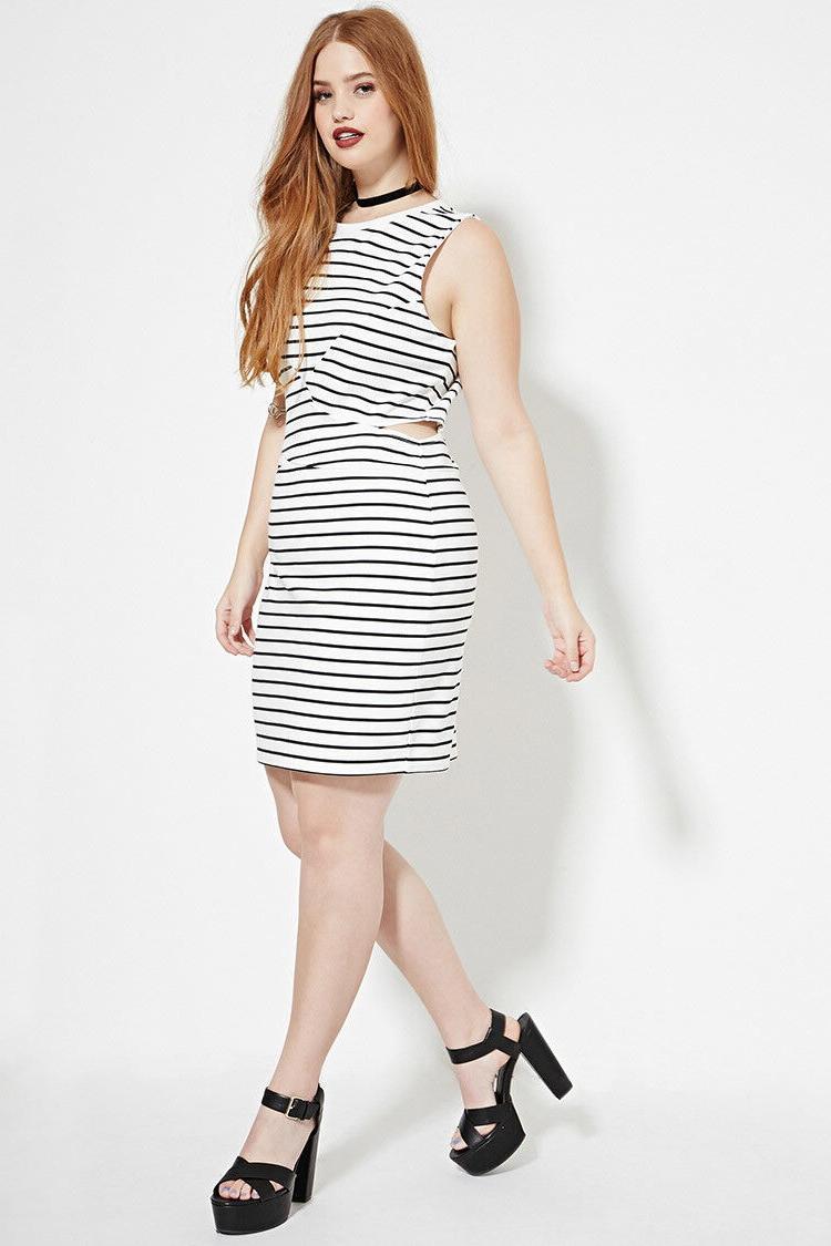 plus size white black cutout striped dress