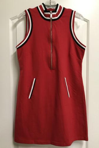 Boston Proper Stripe Sport Zip Red/White/Black
