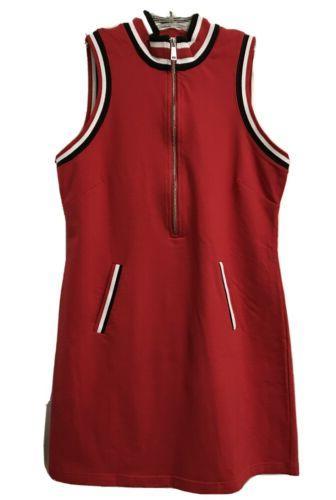 racer stripe sport zip dress red white