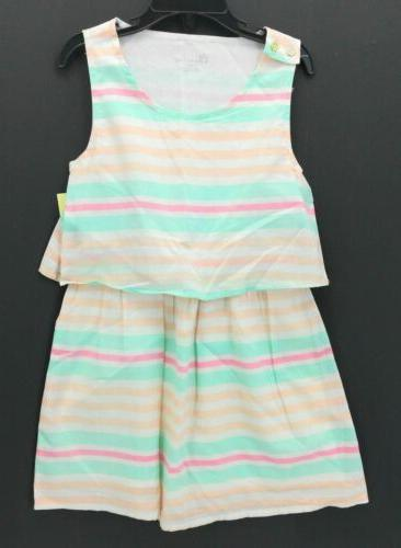 Cherokee Girl's Striped Design Dress Almond Cream XL  516481