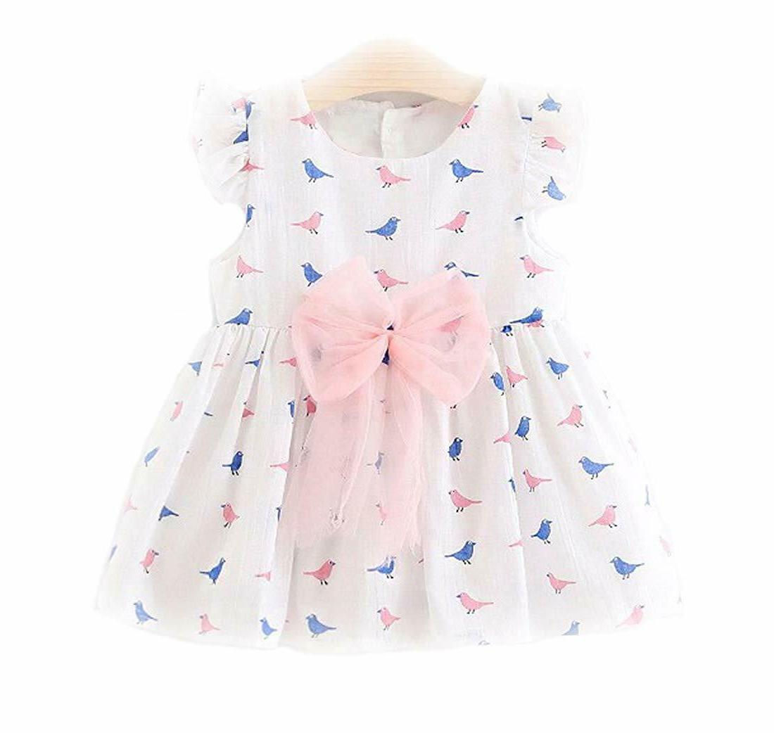 summer cotton white bird printed frock dress