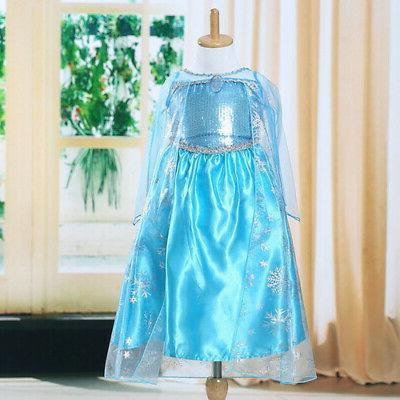 Toddler Girl Princess Anna Elsa Costume Party Dress