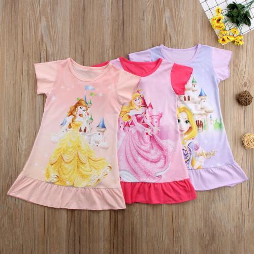 Toddler Girls Rapunzel Belle Aurora Princess Print Summer