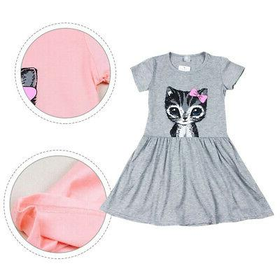 Toddler Baby Girls Summer Short Cat Print Casual Clothes