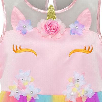 US STOCK! Flower Dress Unicorn Princess
