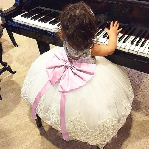 US Toddler Baby Girls Lace Bowknot Party Prom Bridesmaid Dresses