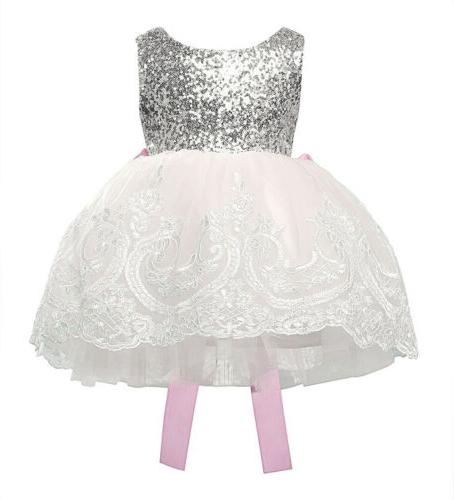 US Kids Girls Lace Party Prom Bridesmaid Dresses