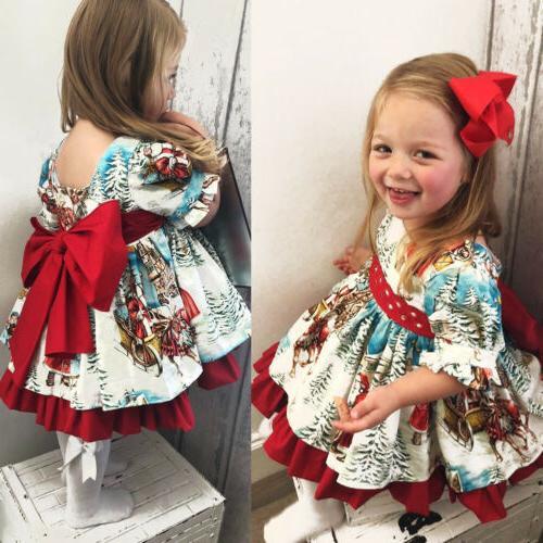 USA Toddler Kid Baby Festival Flared Party Santa Dress