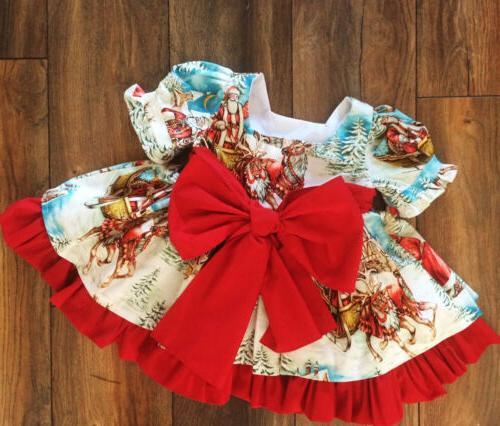 USA Toddler Baby Girl Xmas Flared Party Santa Dress