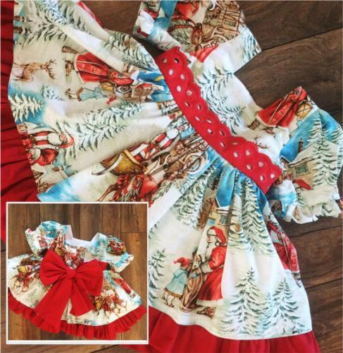 USA Toddler Baby Girl Festival Flared Santa Swing Dress