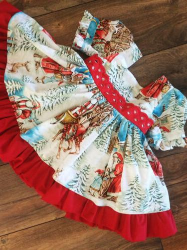 USA Christmas Baby Girl Party Santa Dress Clothes