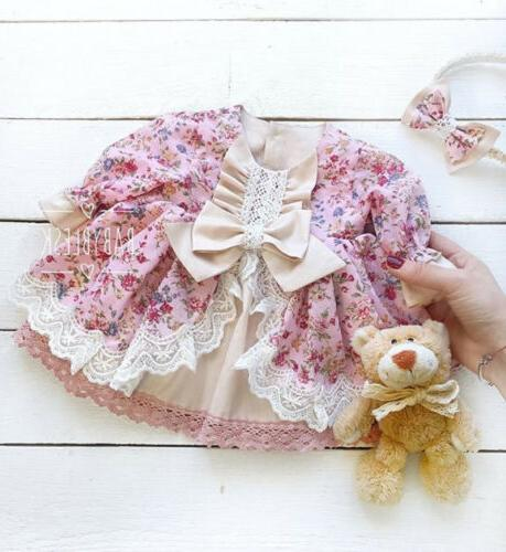 USA Flower Lace Dress Gown Kids