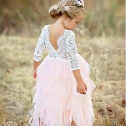 Lace Flower Girl Pageant Birthday Party Princess Bridesmaid