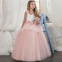 Lace Flower Girl Princess Wedding Bridesmaid Long Tulle Part