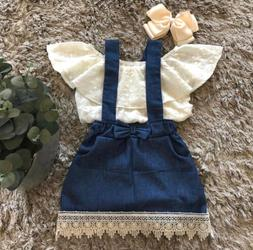 Lace Newborn Kid Baby Girl Top Suspender Skirt Dress Outfits