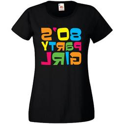 Ladyfit Womens 80's Party Girl Retro Pop Star T-Shirt Fancy