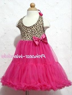 Leopard Print with Hot Pink ONE-PIECE Petti Dress Tutu Petti