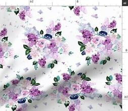 Lilac Purple Watercolor Floral Rose Baby Girl Fabric Printed