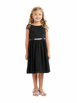 Little Girls Black Ilussion Short Sleeved Chiffon Flower Gir