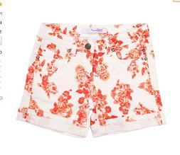 Little Girls Designer Denim Vigoss Shorts, Rose Print, Adj.