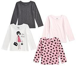 Spotted Zebra Little Girls' 4-Pack Long-Sleeve T-Shirts, Gla