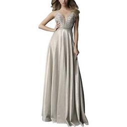 Jovani Beige Metallic Prom Embellished Formal Dress Gown 0 B