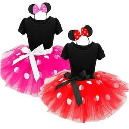 Minnie Mouse Dress for Toddler Girl Fancy Polka Dots Tutu wi