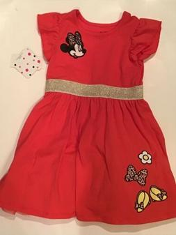 Disney Minnie Mouse Girl's Short Sleeves Pink Dress Size 5