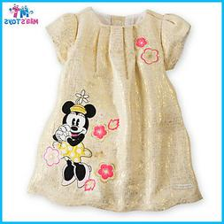 Disney Minnie Mouse Gold Brocade Dress for Baby  bnwt