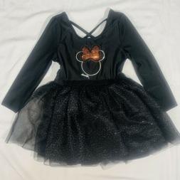 Disney Minnie Mouse Toddler Girl 3T Dress Black Tutu Glitter