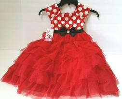 Disney Minnie Mouse Toddler Girl's Tulle Red Dress With Whit