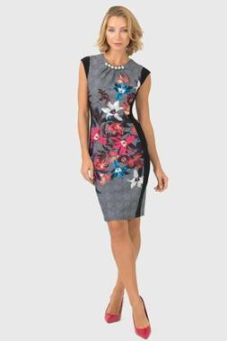 Joseph Ribkoff Multi/Black Floral Check Print Pearl Detail S