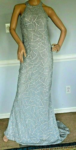 New $4,900 Randi Rahm Embellished Sylvia Blue Long Maxi Gown