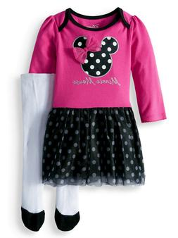 NEW Baby Girls Disney Minnie Mouse 2 pc Tulle Dress with Tig