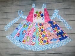 NEW Boutique Baby Shark Girls Sleeveless Ruffle Twirl Dress