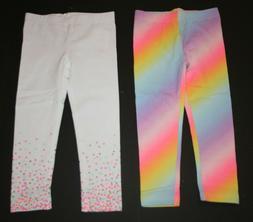 New Carter's Girls 2 Pack Leggings Rainbow & White Confetti